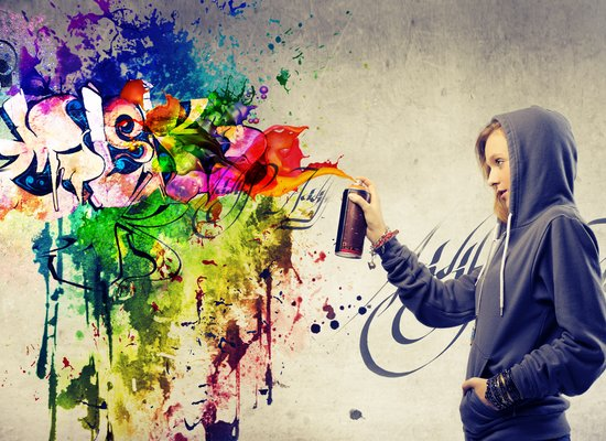 Pausengespräch über Graffiti